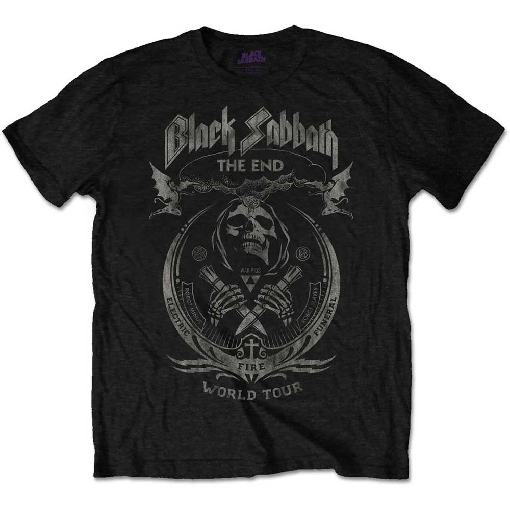 Black Sabbath Unisex Tee: The End Mushroom Cloud (Distressed) (Black) - House of Merch
