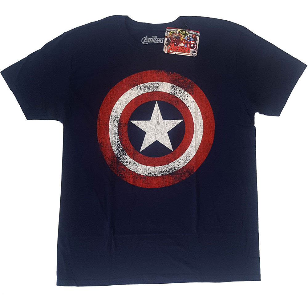 Marvel Comics Unisex Tee: Captain America Distressed Shield (Navy Blue) - House of Merch