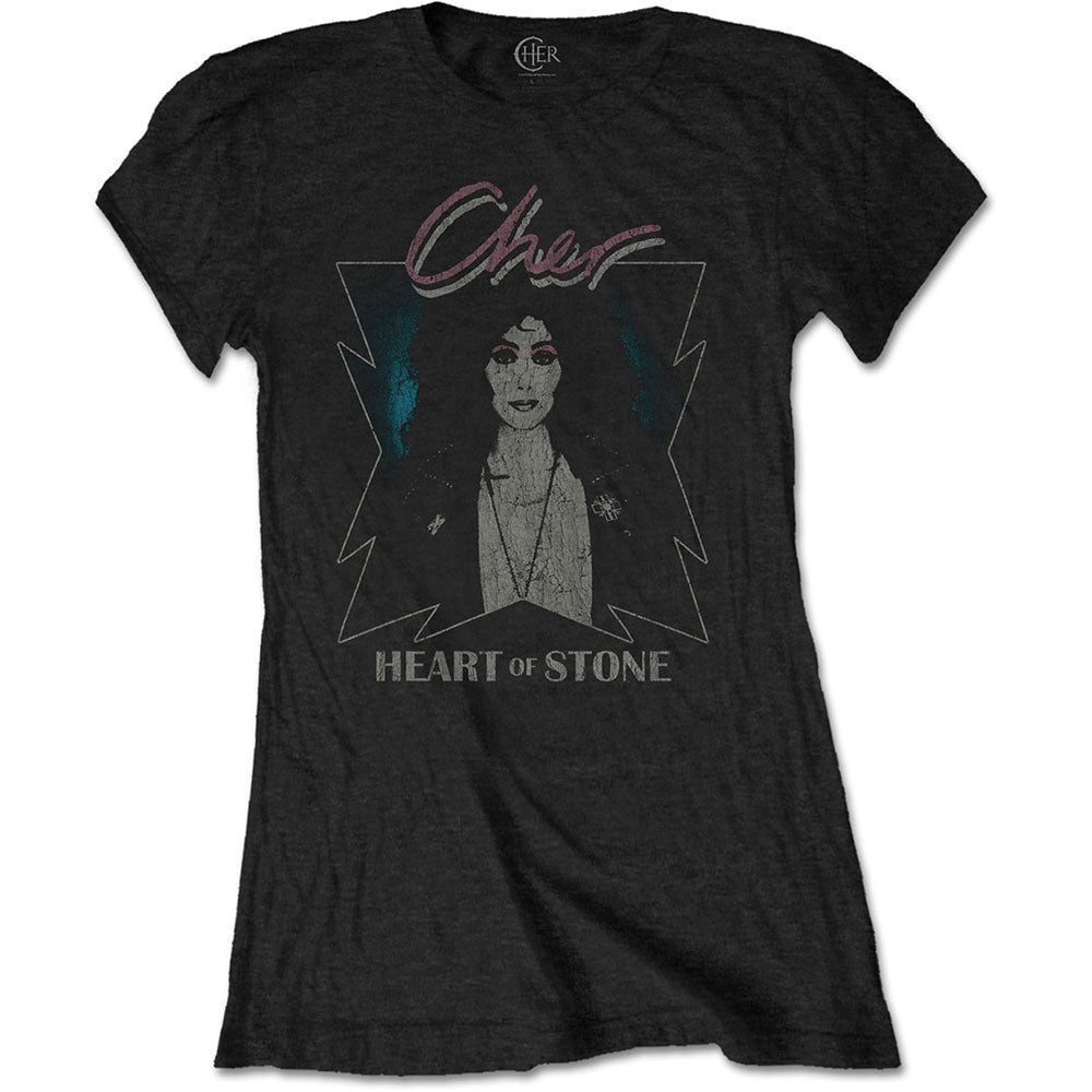 Cher Ladies Tee: Heart of Stone (Black) - House of Merch