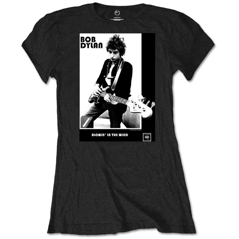 Bob Dylan Ladies Tee: Blowing in the Wind (Retail Pack) (Black) - House of Merch