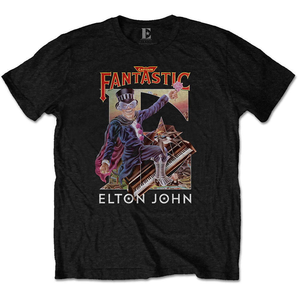 Elton John Unisex Tee: Captain Fantastic (Black) - House of Merch