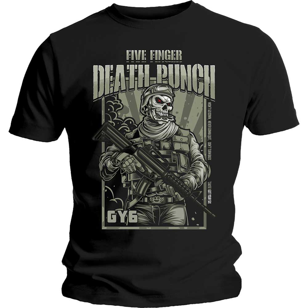 Five Finger Death Punch Unisex Tee: War Soldier (Black) - House of Merch