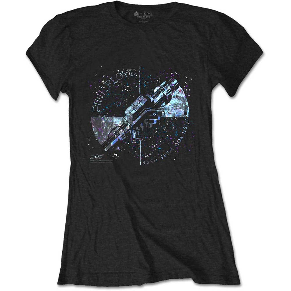 Pink Floyd Ladies Tee: Machine Greeting Blue (Black) - House of Merch