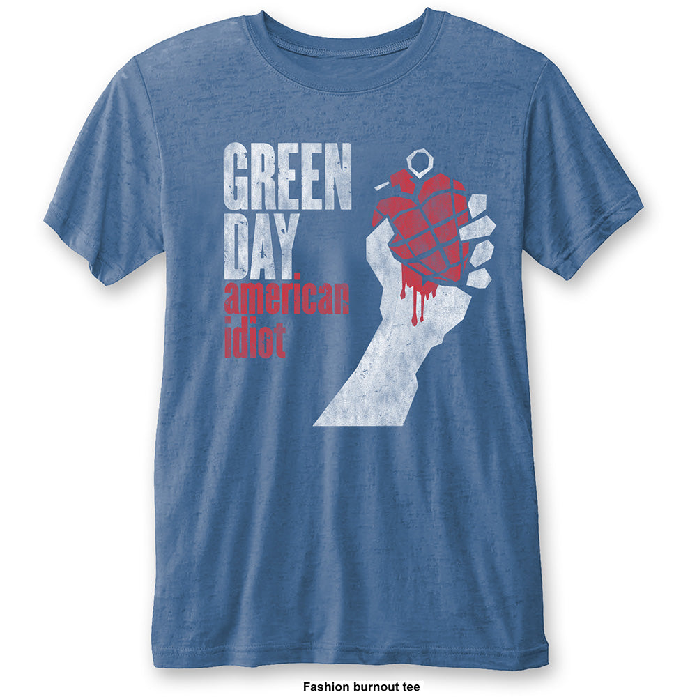 Green Day Unisex Fashion Tee: American Idiot Vintage (Burn Out) (Mid Blue) - House of Merch