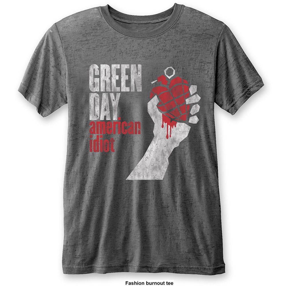 Green Day Unisex Fashion Tee: American Idiot Vintage (Burn Out) (Charcoal Grey) - House of Merch