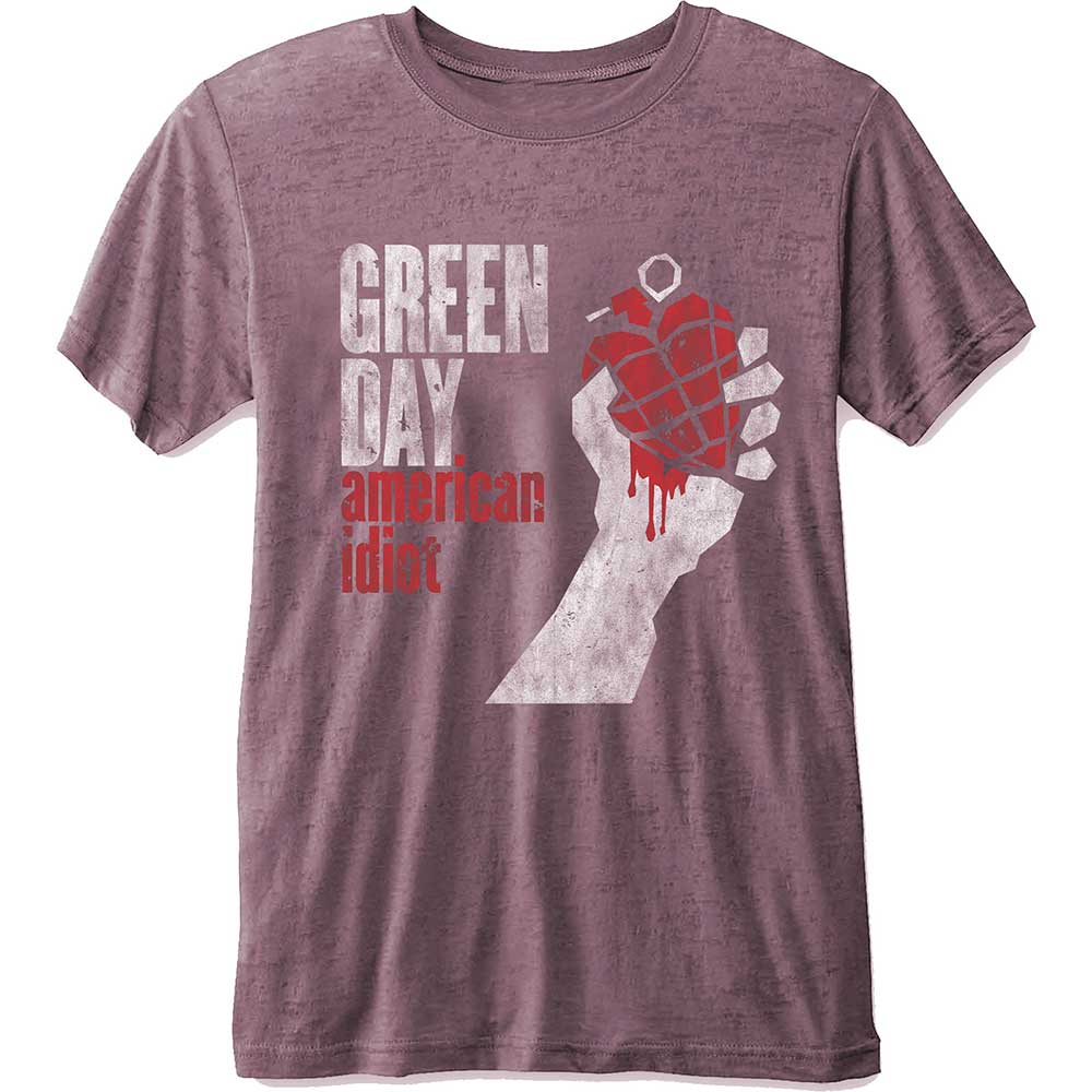 Green Day Unisex Tee: American Idiot (Burn Out) (Pink) - House of Merch