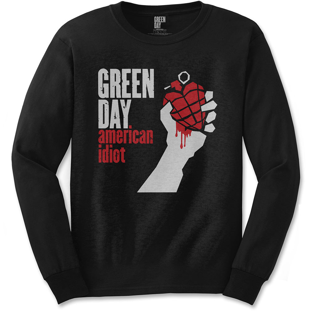 Green Day Unisex Long Sleeved Tee: American Idiot (Black) - House of Merch