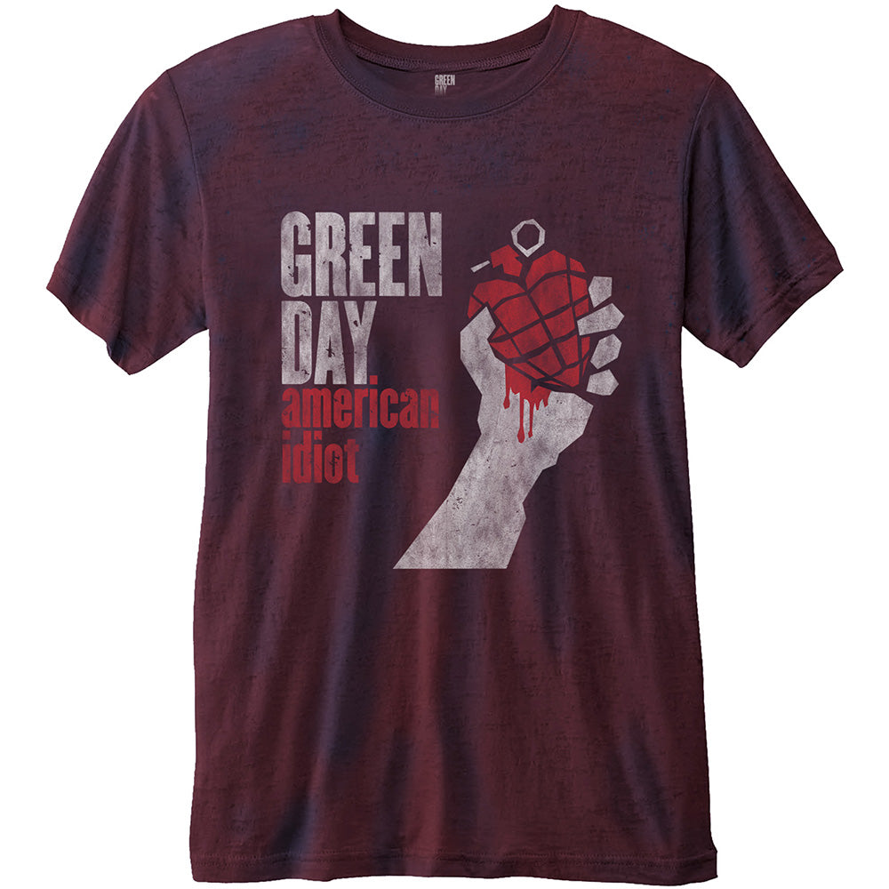 Green Day Unisex Fashion Tee: American Idiot (Burn Out) (Navy Blue & Red) - House of Merch