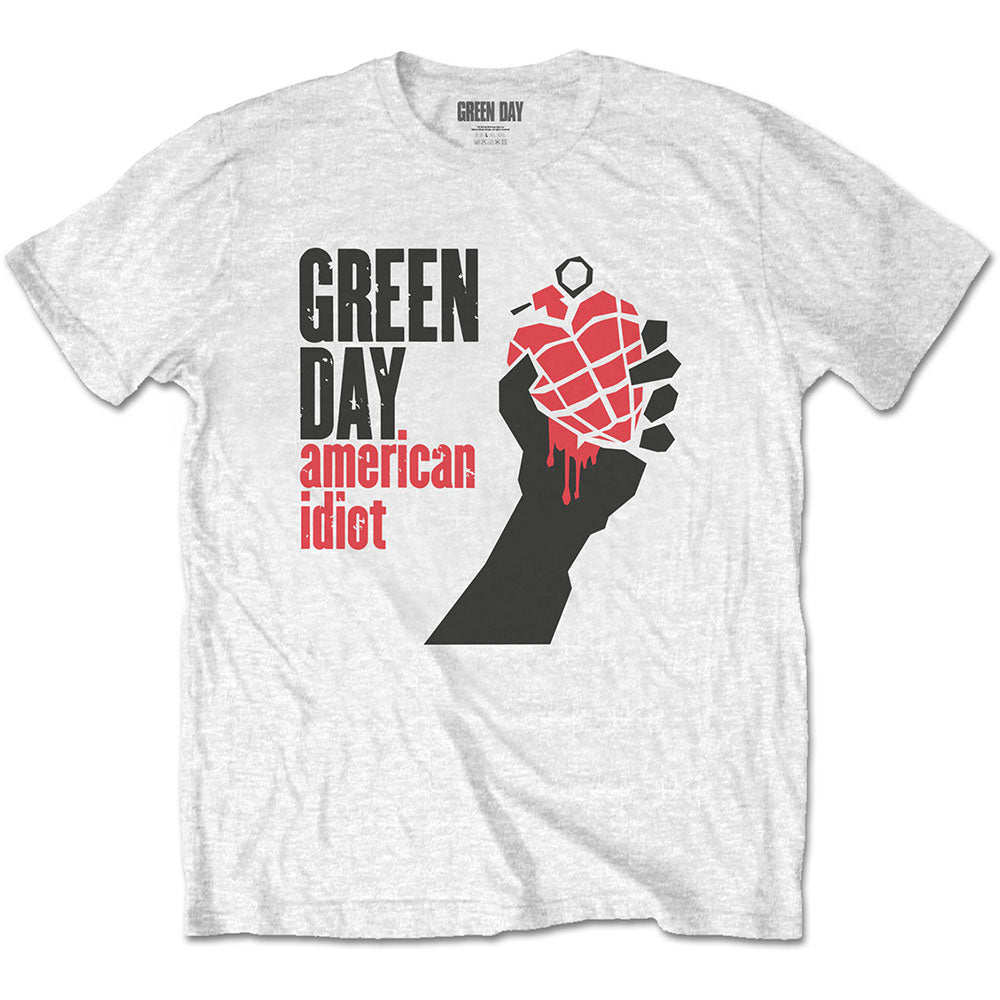 Green Day Unisex Tee: American Idiot (White) - House of Merch