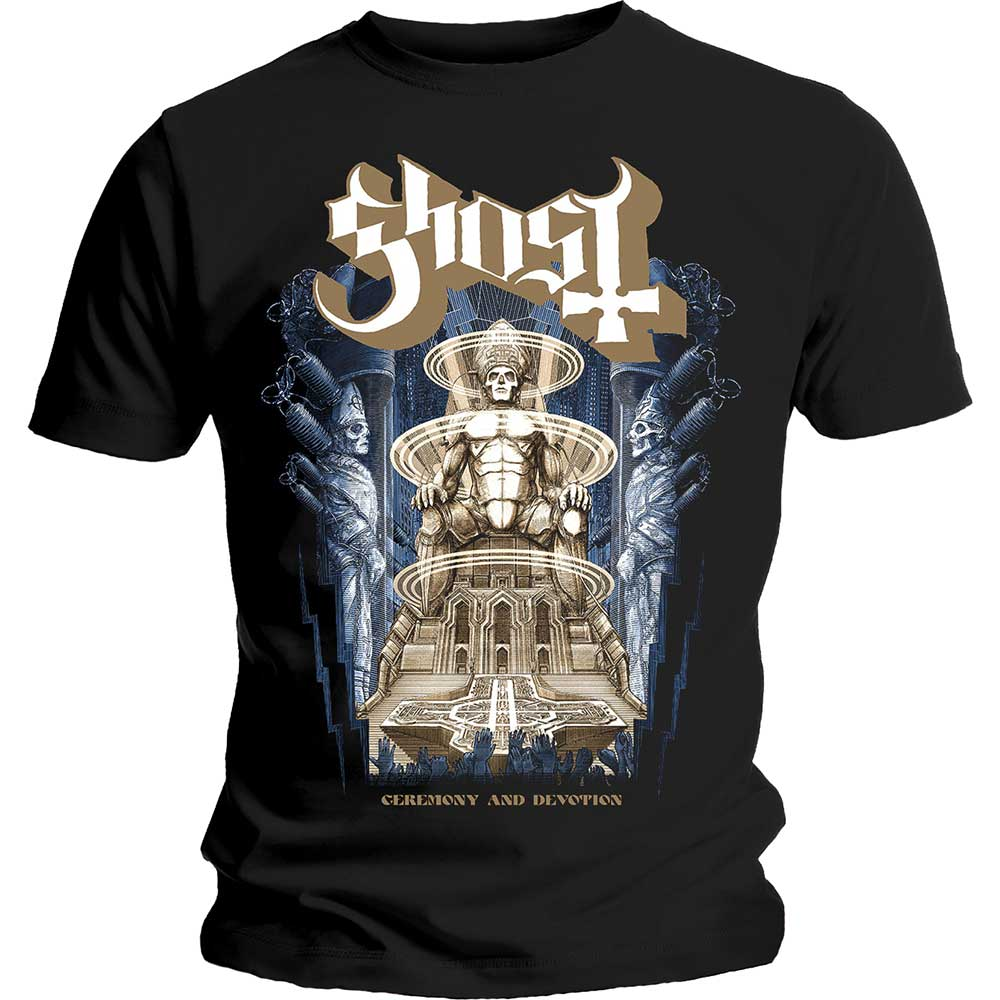 Ghost Unisex Tee: Ceremony & Devotion (Black) - House of Merch