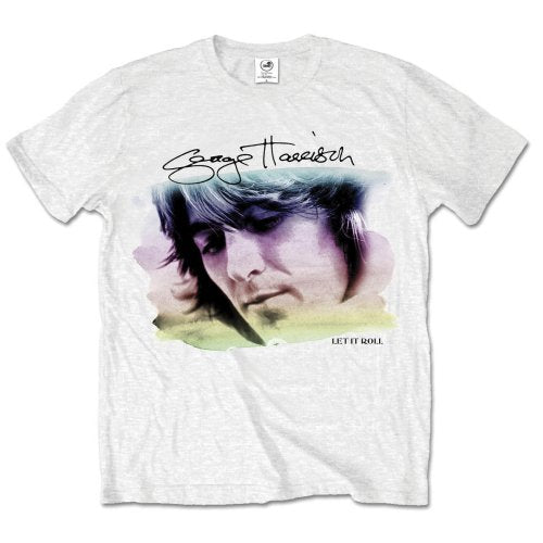 George Harrison Unisex Tee: Water Colour Portrait (White) - House of Merch