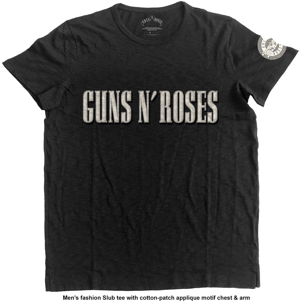 Guns N' Roses Unisex Fashion Tee: Logo & Bullet Circle (Applique Motifs) (Black) - House of Merch