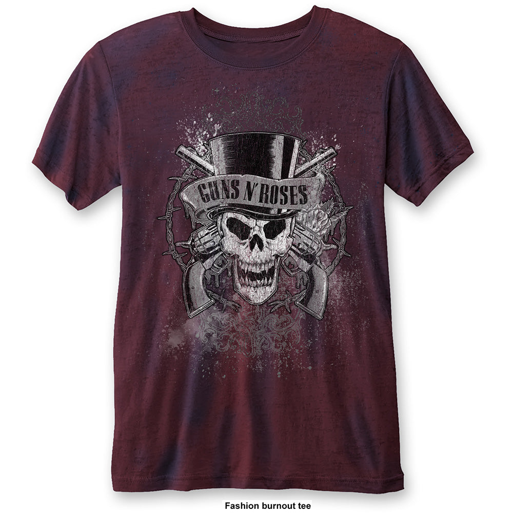 Guns N' Roses Unisex Fashion Tee: Faded Skull (Burn Out) (Navy Blue & Red) - House of Merch