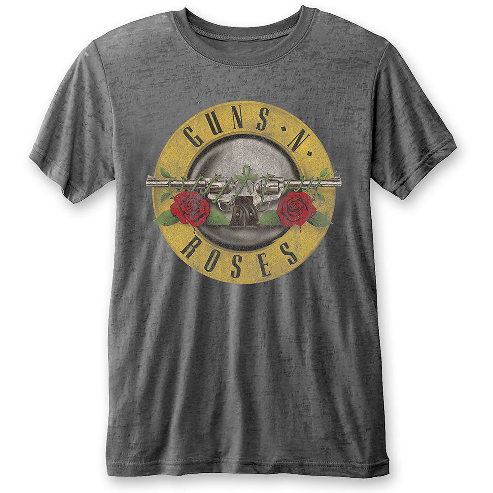 Guns N' Roses Unisex Tee: Classic Logo (Burn Out) (Charcoal Grey) - House of Merch