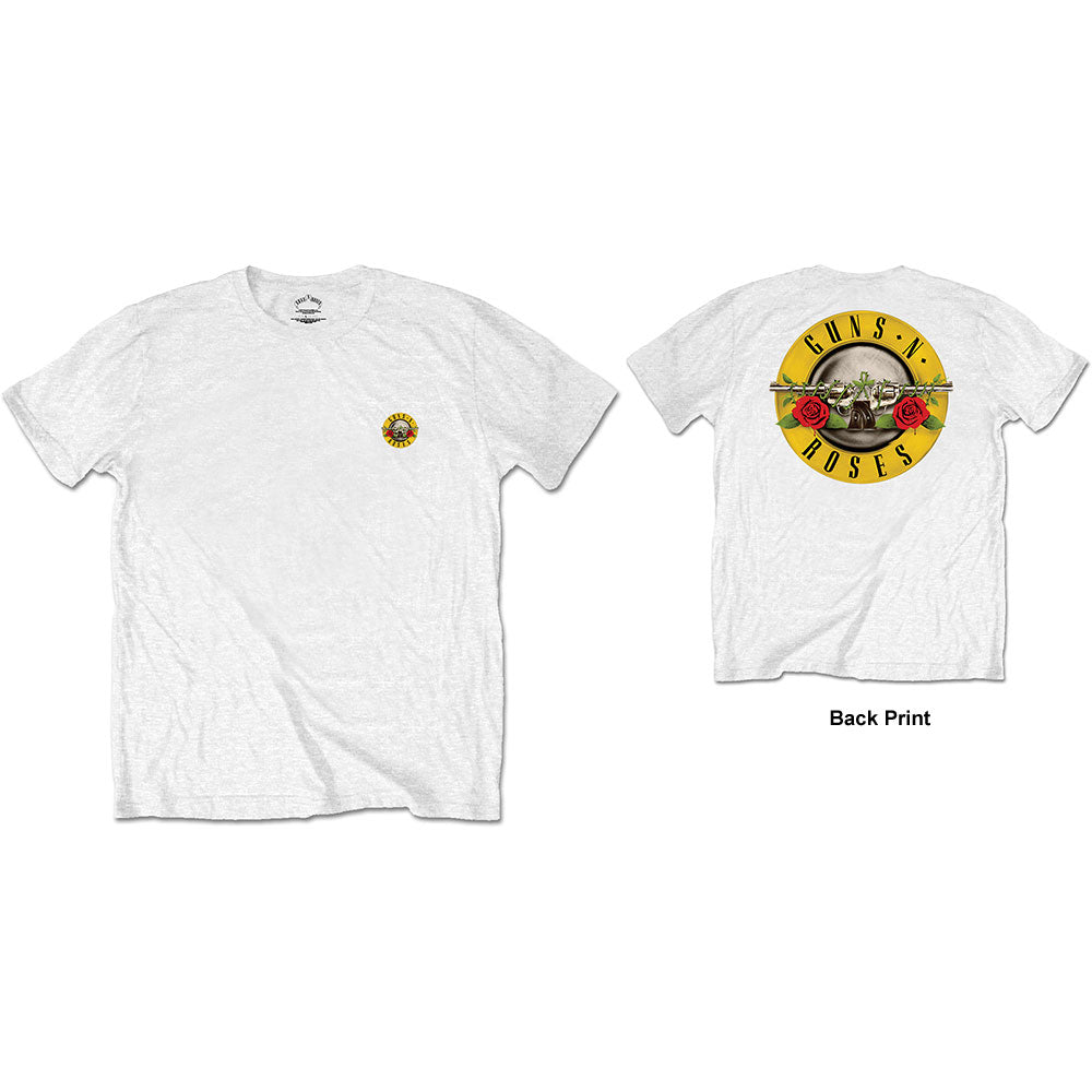 Guns N' Roses Unisex Tee: Classic Logo (Back Print/Retail Pack) (White) - House of Merch