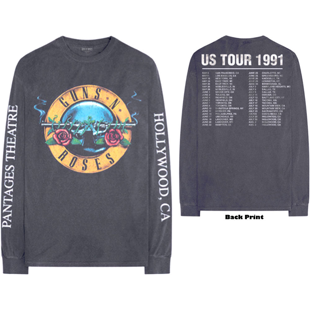 Guns N' Roses Unisex Long Sleeved Tee: Hollywood Tour (Back & Arm Print) (Charcoal Grey) - House of Merch