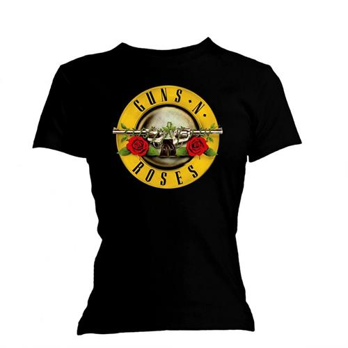 Guns N' Roses Ladies Tee: Classic Bullet Logo (Skinny Fit) (Black) - House of Merch