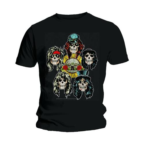Guns N' Roses Unisex Tee: Vintage Heads (Black) - House of Merch