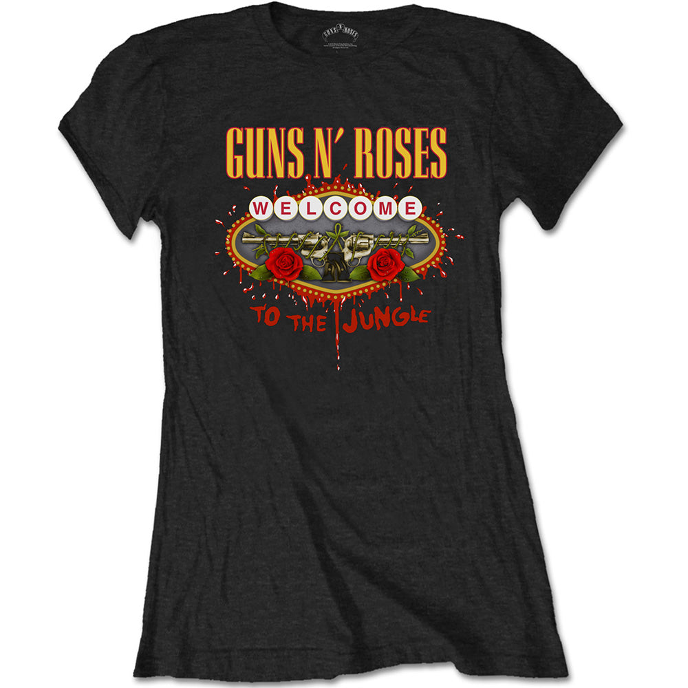 Guns N' Roses Ladies Tee: Welcome to the Jungle (Black) - House of Merch