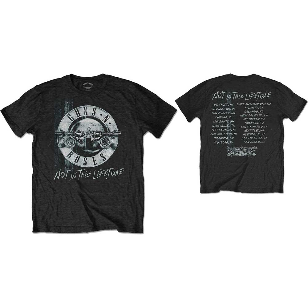 Guns N' Roses Unisex Tee: Not in this Lifetime Tour Xerox (Back Print) (Black) - House of Merch