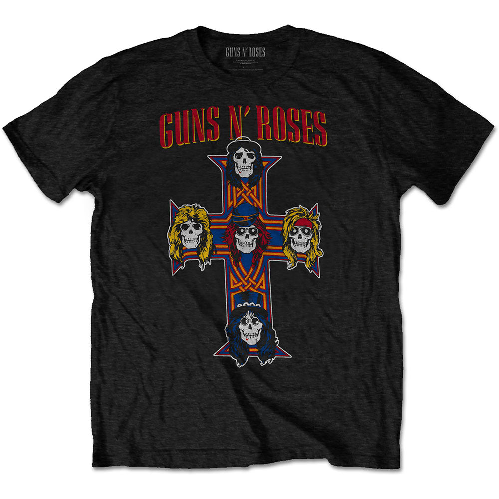 Guns N' Roses Unisex Tee: Vintage Cross (Black) - House of Merch