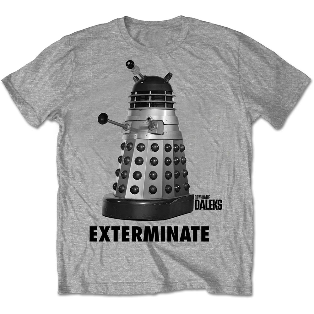 StudioCanal Unisex Tee: Doctor Who Exterminate (Grey) - House of Merch