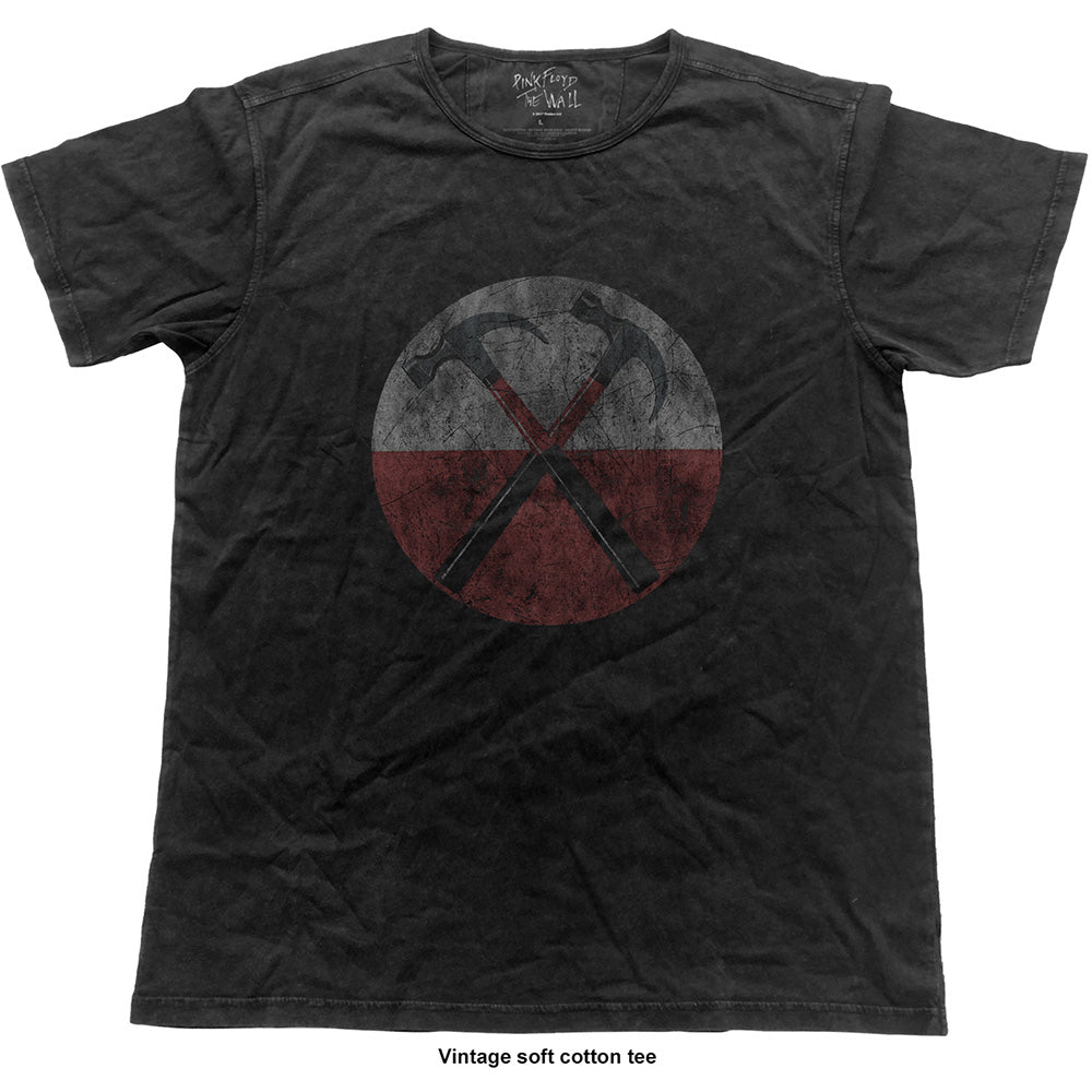 Pink Floyd Unisex Fashion Tee: The Wall Vintage Hammers (Vintage Finish) (Vintage Black) - House of Merch