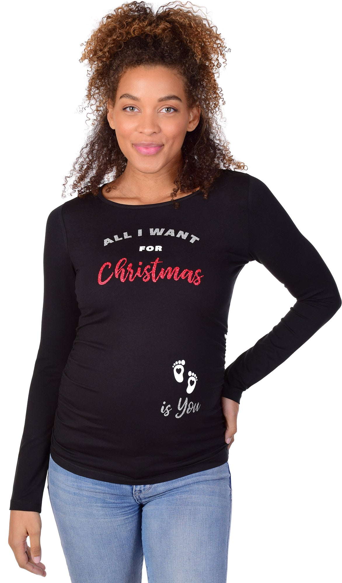 All I Want for Christmas is You Baby Maternity Graphic Tee