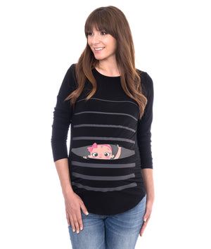 Baby GIRL Peeking - Long Sleeve Maternity Shirt