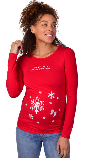 Baby It's Cold Outside Christmas Maternity Graphic Tee