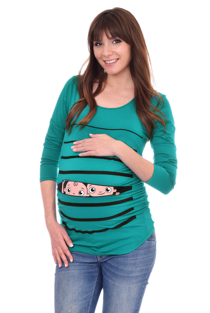 Twins Peeking - Long Sleeve Side Ruched Maternity Top - Teal