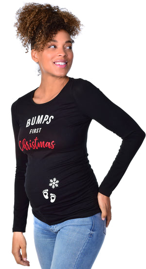 Bumps First Christmas Maternity Graphic Tee