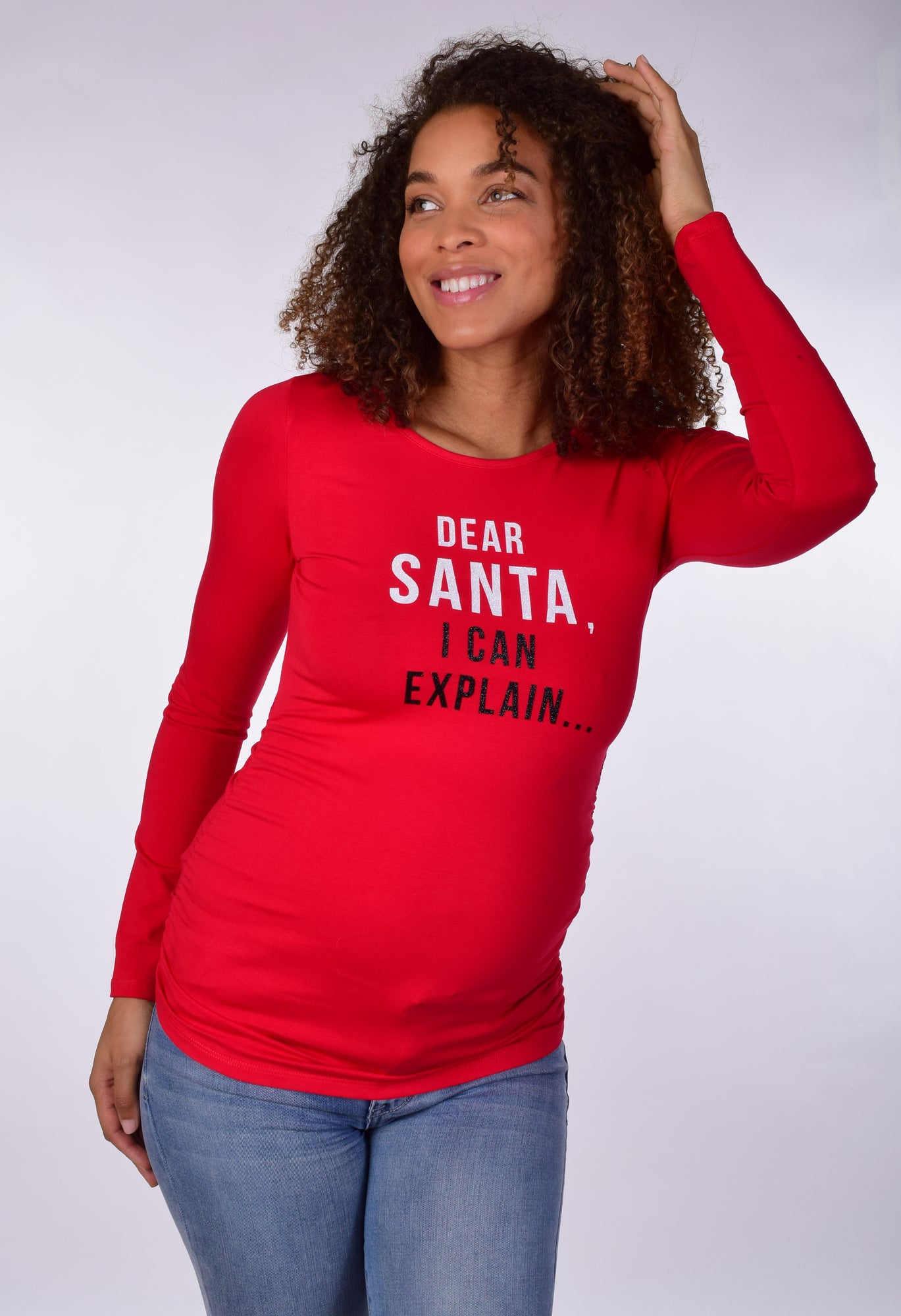 Dear Santa I Can Explain Christmas Maternity Graphic Tee