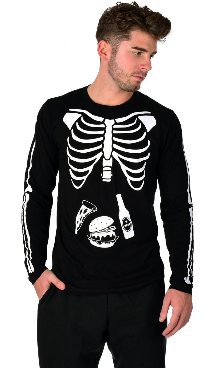 Glow in the Dark Halloween Skeleton Men's Shirt - Pizza, Burger, Beer