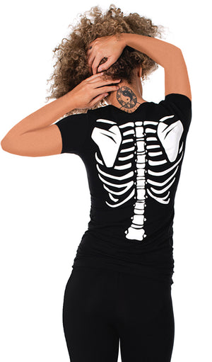 Love Connection - Glow in the Dark Maternity Halloween Skeleton Top Short Sleeve