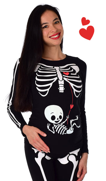 Love Connection - Glow in the Dark Maternity Halloween Skeleton Costume