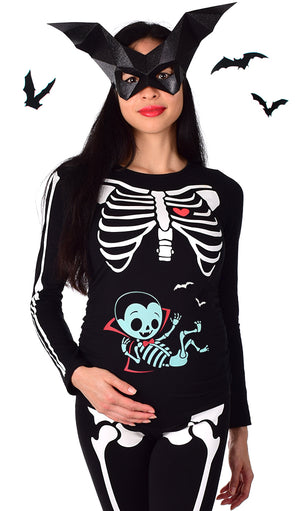 Dracula Baby - Glow in the Dark Maternity Halloween Skeleton Costume