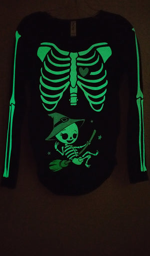Witch Baby - Glow in the Dark Maternity Halloween Skeleton Top