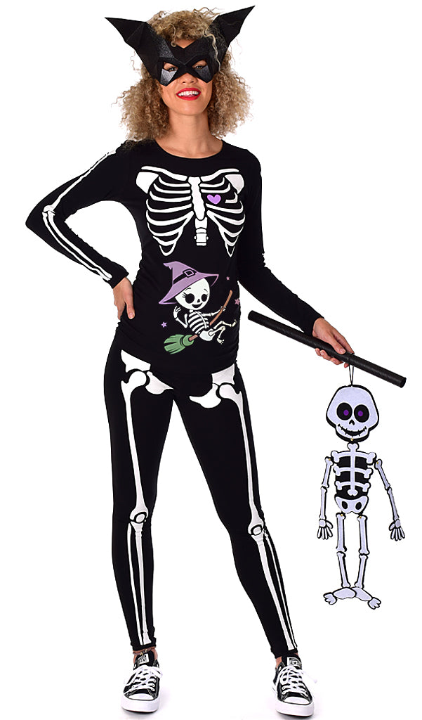 Witch Baby - Glow in the Dark Maternity Halloween Skeleton Costume