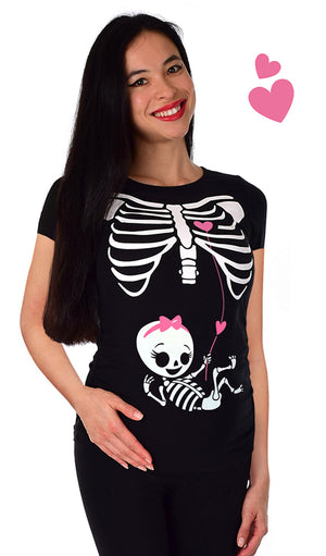 Baby Girl Love Connection - Glow in the Dark Maternity Halloween Skeleton Top Short Sleeve