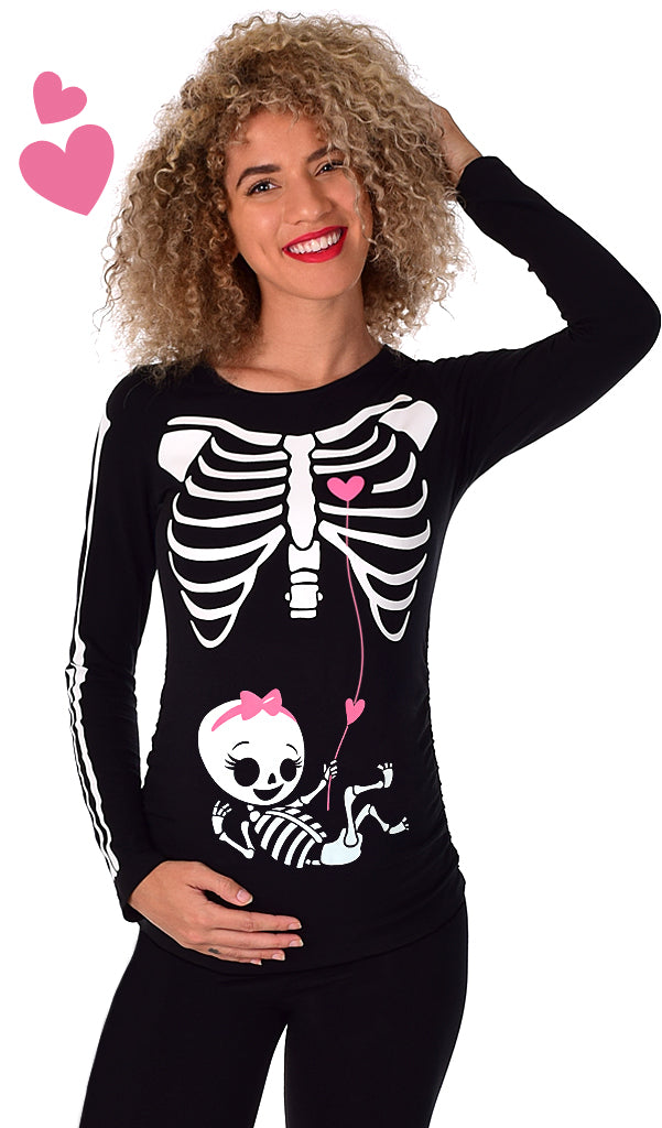 Baby Girl Love Connection - Glow in the Dark Maternity Halloween Skeleton Top