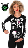 Glow in the Dark Maternity Halloween Skeleton T-Shirt - Girl