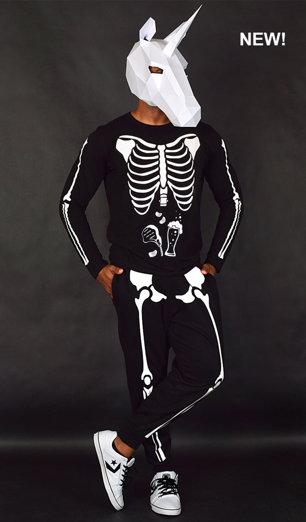 Glow in the Dark Halloween Skeleton Men's Costume - Beer, Chips & Steak