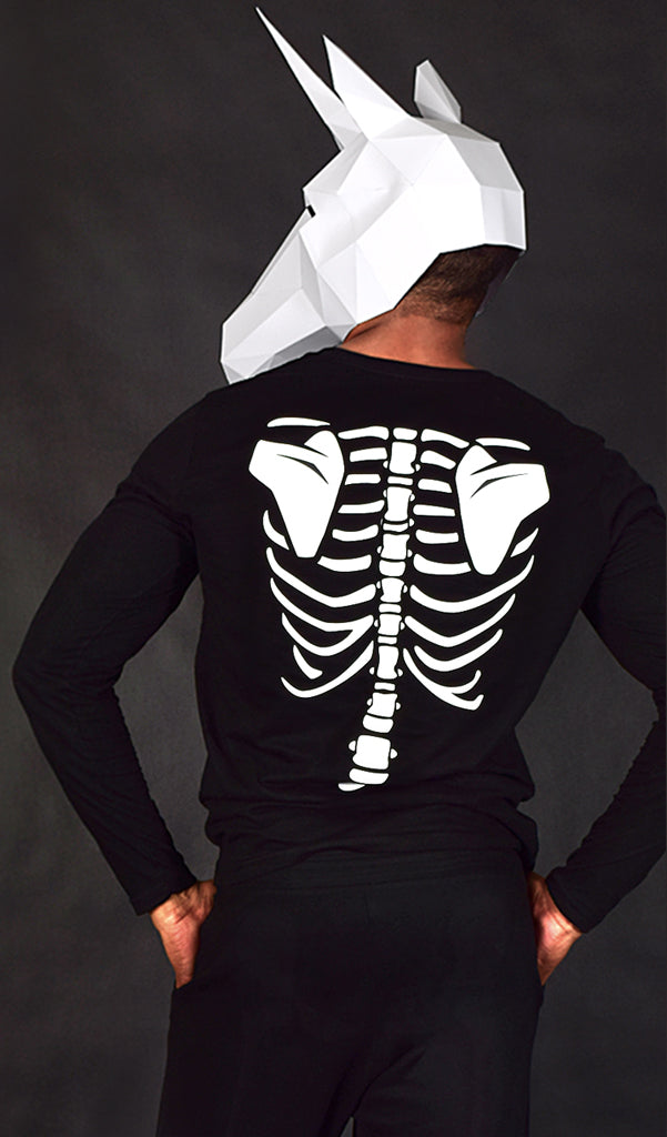 Glow in the Dark Halloween Skeleton Men's Shirt - Beer, Chips & Steak