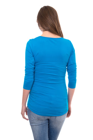 Wholesale Blank Maternity Top Long Sleeve - Blue