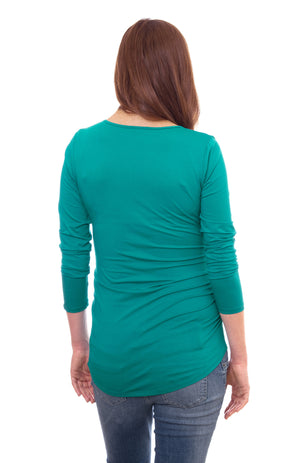 Wholesale Blank Maternity Top Long Sleeve - Teal