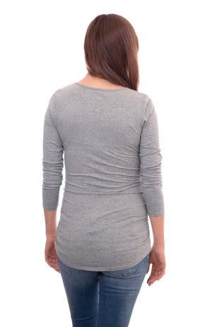 Wholesale Blank Maternity Top Long Sleeve - Heather Grey