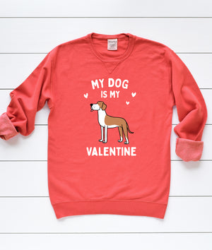 Great Dane My Dog Is My Valentine Sweatshirt - Red