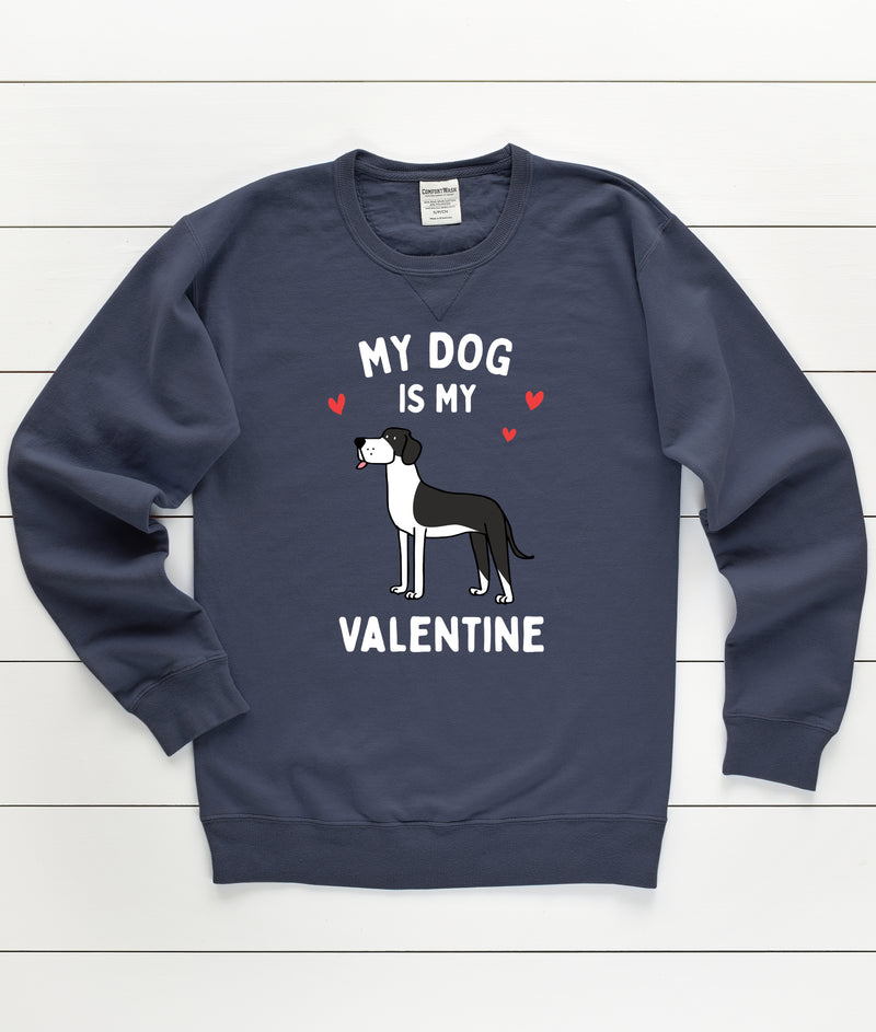 Great Dane My Dog Is My Valentine Sweatshirt - Navy