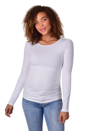 NEW! Wholesale Blank Maternity Top Long Sleeve - White